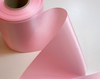 Wide Pink Ribbon, Baby Pink Double-Faced Satin Ribbon 4 inches wide x 3 yards