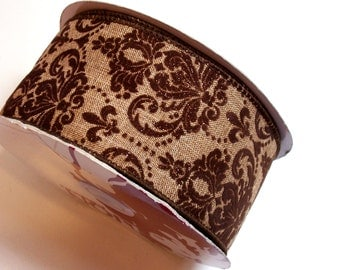Brown Ribbon, Flocked Wired Fabric Ribbon 2 1/2 inches wide x 25 yards, Full Bolt of Lion Brand Sayer Ribbon