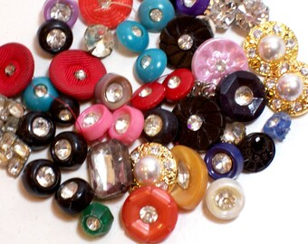 Rhinestone Buttons, Vintage Rhinestone Buttons x 50 pieces, Used Garment Buttons