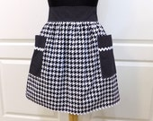 Retro Apron Houndstooth Womens Half Apron Kitchen Waist Aprons with pockets