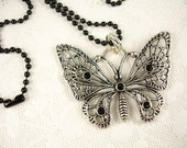 Large Butterfly Pendant with a Black Ball Chain Necklace
