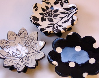 Black & White pottery Dish Set :) 3 ceramic serving flowers, whimsical hostess gift, candleholders, ring dish, soap dish