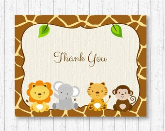 Safari Jungle Thank You Cards / Safari Baby Shower / Jungle Baby Shower / Jungle Animals / Folded Card  / PRINTABLE Instant Download A100
