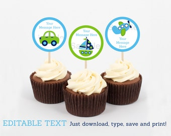 Transportation Vehicles Car Truck Sailboat Airplane Cupcake Toppers / Party Favor Tags / Party Circles INSTANT DOWNLOAD Editable PDF