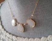 White Quartz Pendant Petite Pearl Gold Vermeil Chain Necklace