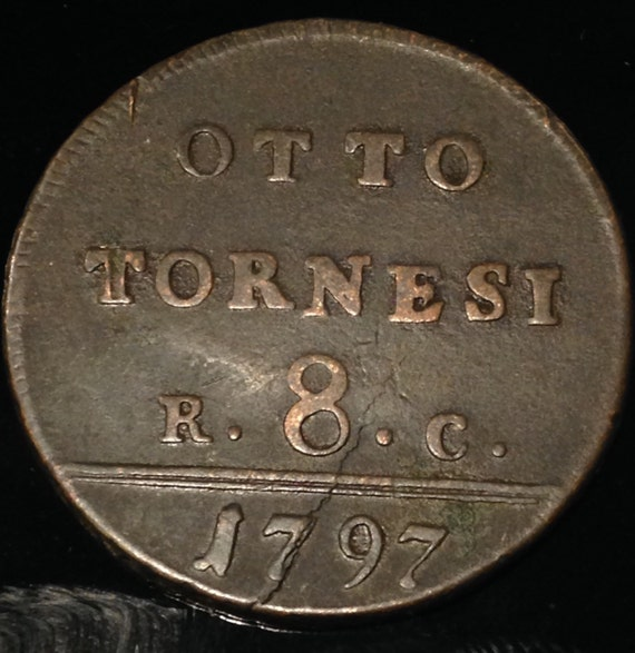 1797 Italy Naples and Sicily 8 Tornesi Coin