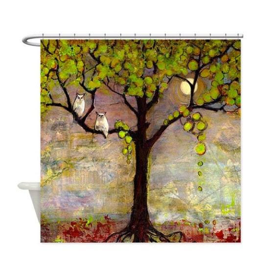 Tree Shower Curtain Owl Decor Tree Of Life Bathroom Art