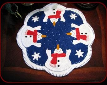 Hand Stitched Wool Felt - Primitive - Folk Art - LET IT SNOW - Penny Rug - Candle Mat - Fiber Art - Wool Applique - Snowman Mat - Home Decor