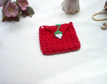 Red Rosebud Rosary Case Jewelry Pouch Coin Purse Gift Bag Crochet Thread Art
