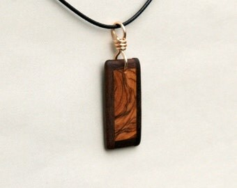 Black Walnut and Olive Wood Pendant.  J160225