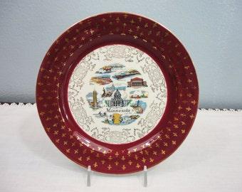 Homer Laughlin Maroon Minnesota Souvenir Plate