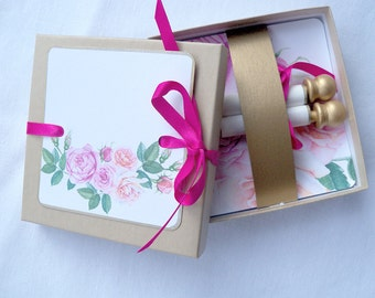 Will you be my flower girl, wedding invitation, custom printed boxed mini scroll, pink and gold roses, set of 2