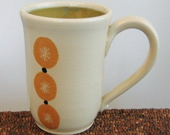 Tall Coffee Mug - Modern Abstract Stoneware Pottery Mug - 16 oz Handmade Mug Ceramic Mug