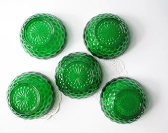 Dessert Bowls Anchor Hocking Green Bubble Set of Five - Vintage Sweet