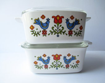 Vintage Country Festival Corning Ware Cute Casserole Pair - Retro 70s
