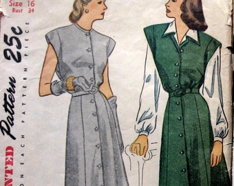 1940s Womens Dress Pattern Or Jumper And Long Sleeve Blouse Simplicity 1238 Sz 16 Uncut