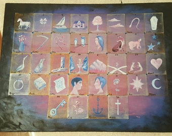Custom made Lenormand Casting Boards by Beth Seilonen.