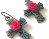 Patina Cross with Pink Rose Earrings