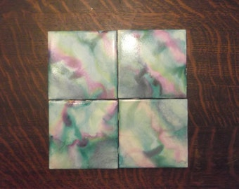 Water Color Tile Coasters; Tie Dyed Coasters, Set of 4