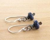 Lapis Lazuli Earrings, Blue Gemstone Dangle, Everyday Earrings, Wire Wrapped, Oxidized Sterling Silver, #4307