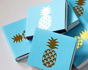 Gold Foil Matches - Pineapple - Foil Stamped - Tropical - Blue - Gold - Set of 3 - Hostess Gift