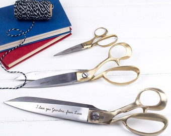 Personalised Scissors - Medium Or Large Brass Scissors With Engraving - Personalized Sewing Gift - Personalised Desk Accessory