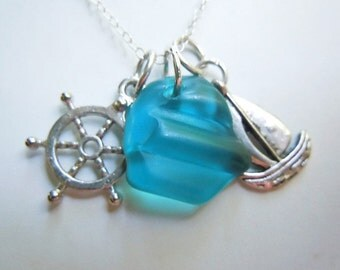 Turquoise Sea Glass Necklace Shep's Wheel Sailboat Beach Glass Pendant  Charm Necklace Seaglass