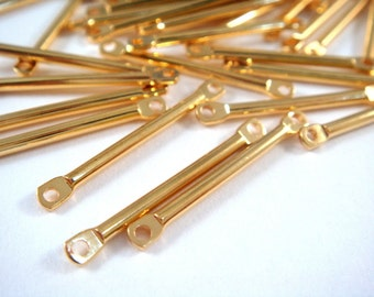 25 Bar Link Connector Gold Plated Brass 17x2mm - 25 pc - F4177LK-G25