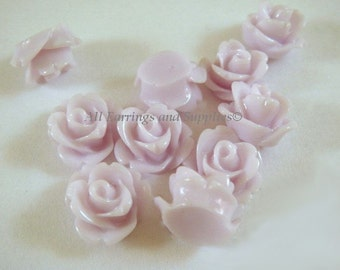 BOGO 10 Rose Flower Cabochon Light Lavender Flower Bead 10mm - No Holes - 10 pc - CA2006-LL10 - Buy 1 pk, Get 1 Free - No coupon required