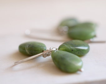 SALE - Jade earrings. Sterling silver earrings with natural Nefrite Jade beads. Green earring, Jade dangles, Nefrite dangles, drop earrings.