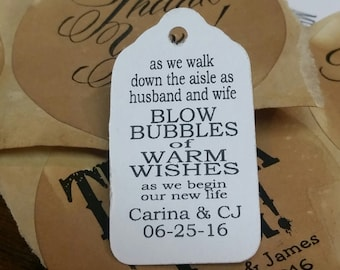 As we walk down the aisle as husband and wife Blow Bubbles of Warm Wishes  EXTRA SMALL 7/8 x 1 5/8 Wedding Bubble Favor Tag