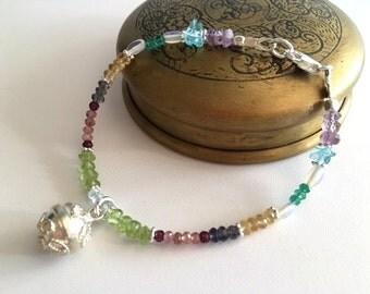 Tiny Semi Precious Gemstone Bracelet With Bali Chime Ball