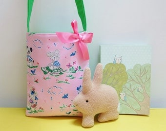 Pink Retro Animals Small Bag in Pale Pink, Sweet Retro Fabric Book Bag, Little Purse for Little Girls