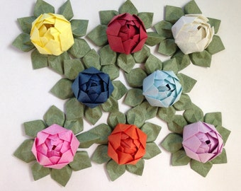 Mini Origami Lotus Flower - Set of 8, Japanese Special Momigami, Anniversary, Hostess Gift, Birthday Gift, Table Decor, Get Well