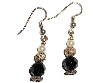 Black Bead with Pearl and  Silver Bead Dangle Earrings