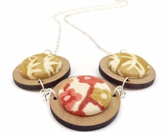 Three Button Necklace - Mustard and Rust