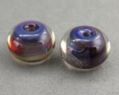 Whirled Peas Beads – Earring Pair – Encased Blue Amber Purple