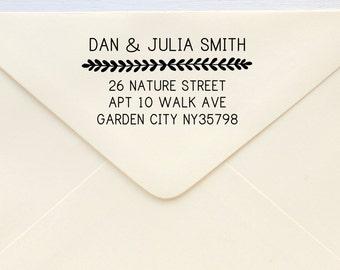 Custom Address Stamp - Return Address Stamp - Thick Vines Border
