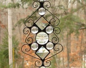 Stained Glass Suncatcher - Clear Iridescent Moonface with Clear Iridescent Glass Nuggets, Clear Bevels, and Curly Cue Wire