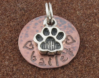 Pet Charm,Sterling Silver Dog Paw Print with Hand Stamped Personalized Copper Disc, Any Name