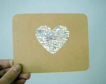 Custom Map Heart Card / Vintage Map Card / Custom Map Card / Long Distance Love
