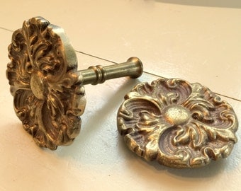 Antique Brass Floral Curtain Tie Backs Pair Set of 2