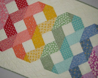 Woven Celtic Rainbow Quilt from Quilts by Elena Modern 1930s Reproduction fabrics