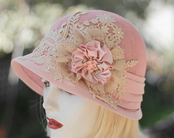 Cloche Hat for Wedding Special Occasion in Pale Pink Ivory Lace Flowers