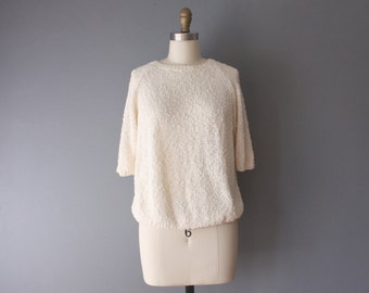 vintage knit top / white boucle sweater / pullover sweater