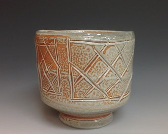 Yunomi or Whiskey Cup.  Incised Decoration.Soda Fired Stoneware Pottery (#13)