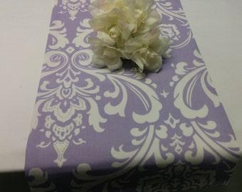 "SAMPLE SALE- RUNNER Lilac 72"" Osborne White Damask on lilac Table runner, damask runner lilac, 6 ft long"