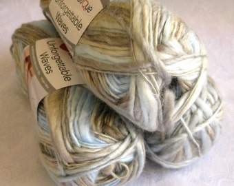 Unforgettable Waves yarn RIVERBANK, Red Heart Boutique, tan brown blue sand cream,  worsted weight, variegated roving yarn