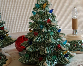 Ceramic 10 inch snowy Christmas Tree with base - ready for shipping