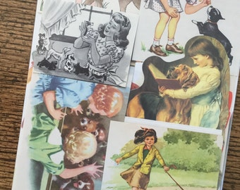 Little Girls and Puppies Vintage Dog Collage, Scrapbook and Planner Kit Number 2068